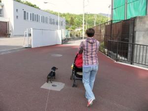 Katya pushing a baby carriage