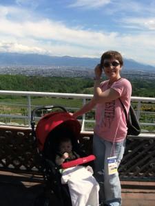 Katya and Mariya at the vew pont of Tomi no Oka