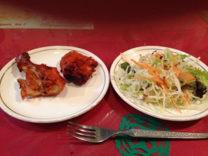 Salad and tandoori chicken